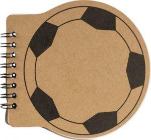 Anteckningsbok i form av fotboll